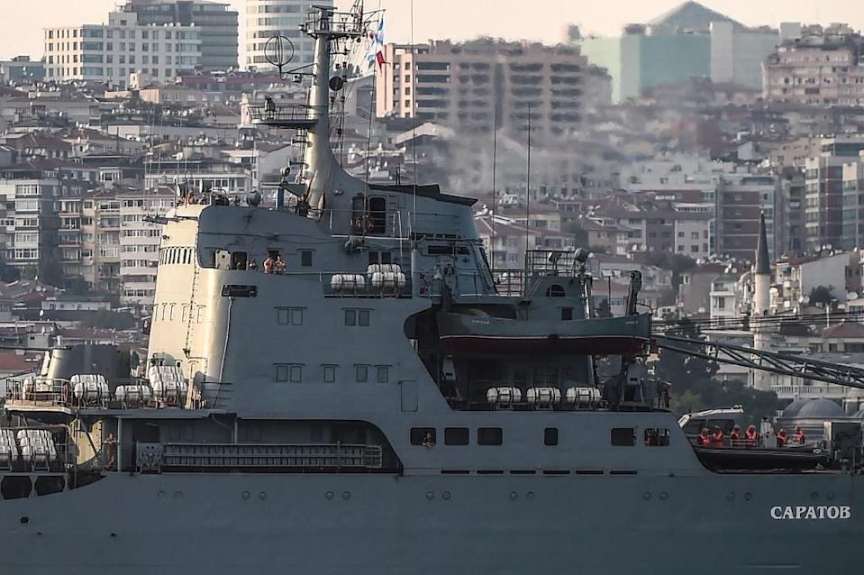 Passage of Russian warships through the Bosphorus has not been without tensions in recent weeks (AFP Photo/Ozan Kose)