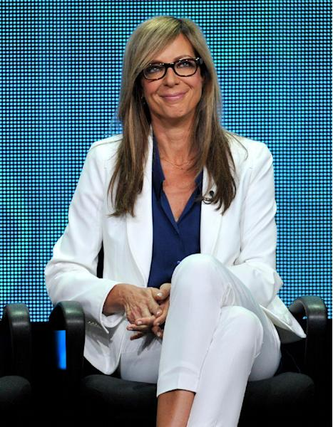 """FILE - In this July 29, 2013 file photo, cast member Allison Janney participates in the """"Mom"""" panel at the CBS Summer TCA at the Beverly Hilton hotel in Beverly Hills, Calif. """"Mom,"""" airs on Mondays on CBS. (Photo by Chris Pizzello/Invision/AP, File)"""