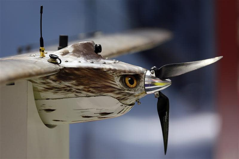 A Shepherd-MIL Unmanned Aerial Vehicle (UAV) is seen during the Defence Security Equipment International (DSEI) arms fair at ExCel in London