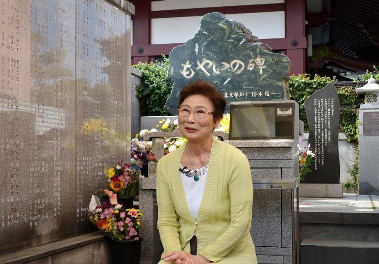 """Kumiko Kano, 74, speaking during an interview at the communal resting place group """"Moyainokai"""" which means """"working together"""", in Tokyo, June 4, 2014"""