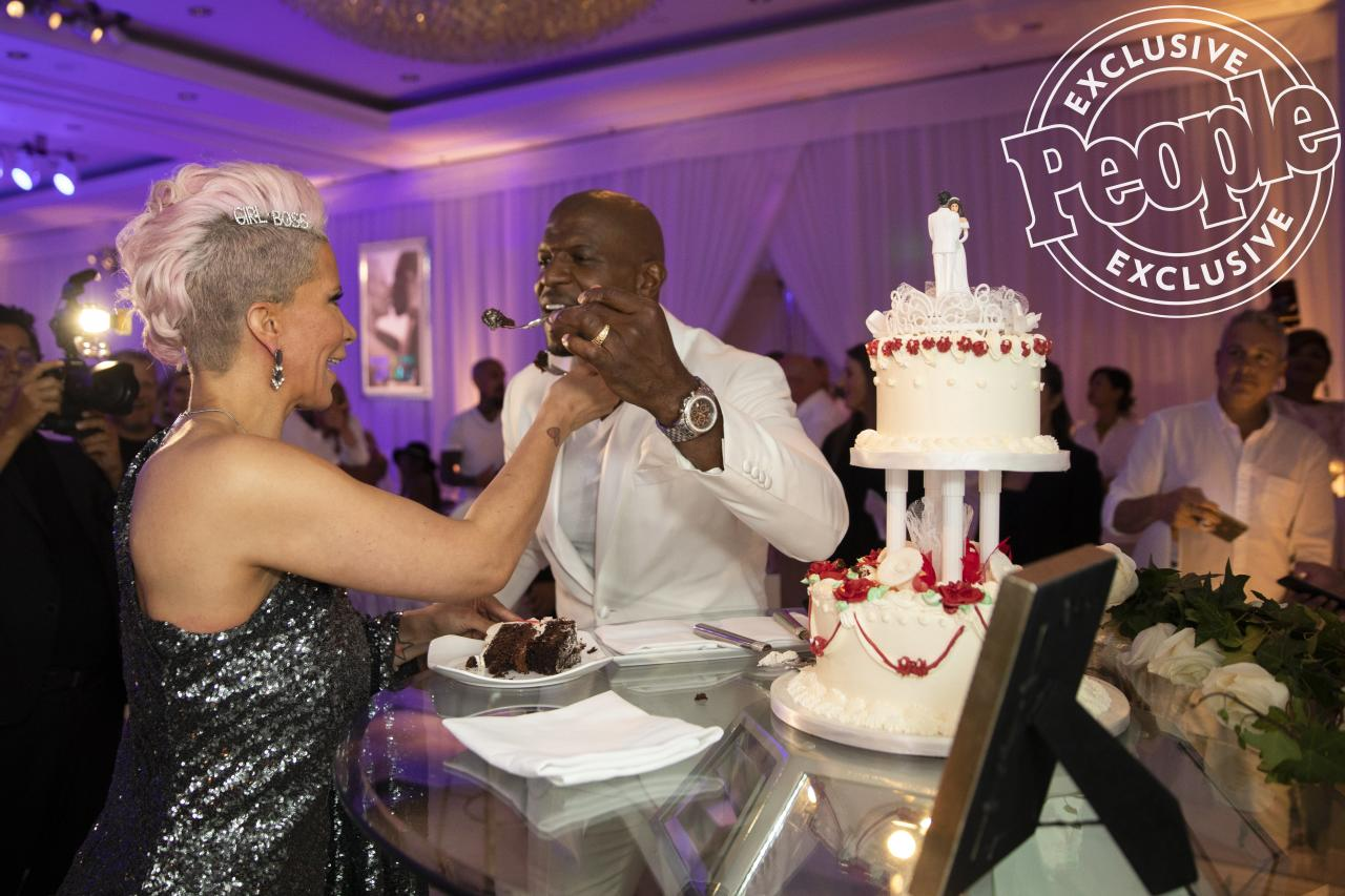 """King-Crews debuted the music video for her new single """"Reachin' for the Top,"""" and the couple cut into a replica of their original wedding cake.  """"In the 30 years since we were first married, there were times it seemed life shifted into hyperspeed — our five children going from diapers to high school, the seven-year period in the NFL on six different teams, careers in music and entertainment that we started launched last week but in fact has crossed into 20 years,"""" the couple tells PEOPLE exclusively."""