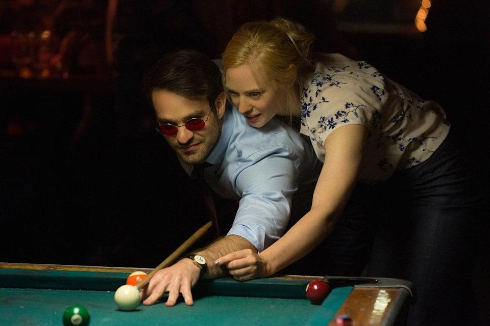 <p><strong>For Karen Page:</strong> A blond wig, a printed shirt or sweater, and a pencil skirt.</p> <p><strong>For Matt Murdock:</strong> A blue button-down, dark pants, red-tinted glasses, and a white cane. If you'd rather be his alter ego, opt for a tight, dark red shirt, pants with black accents, and his mask.</p>