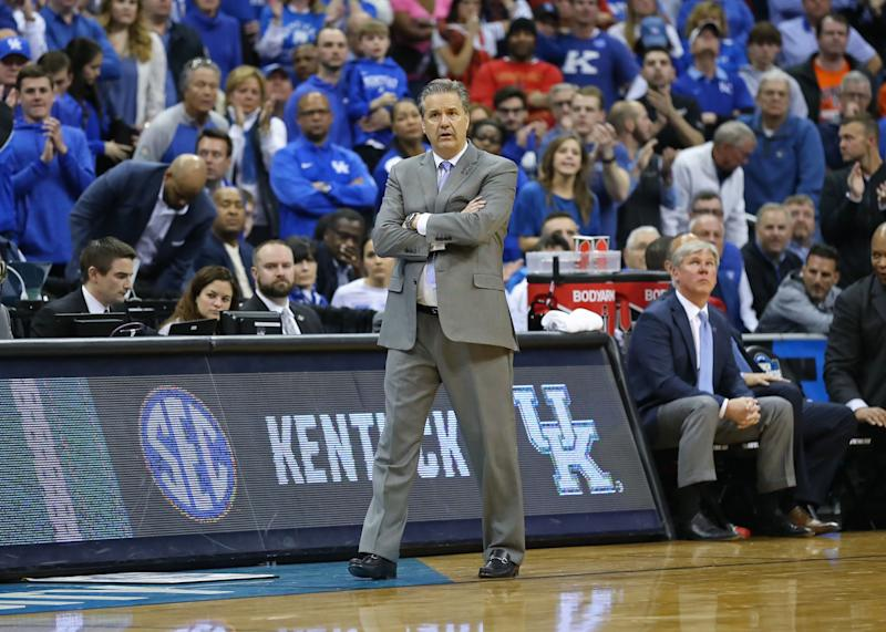 KANSAS CITY, MO - MARCH 31: Kentucky Wildcats head coach John Calipari stands with his hands folded late in overtime of the NCAA Midwest Regional Final game between the Auburn Tigers and Kentucky Wildcats on March 31, 2019 at Sprint Center in Kansas City, MO. (Photo by Scott Winters/Icon Sportswire via Getty Images)