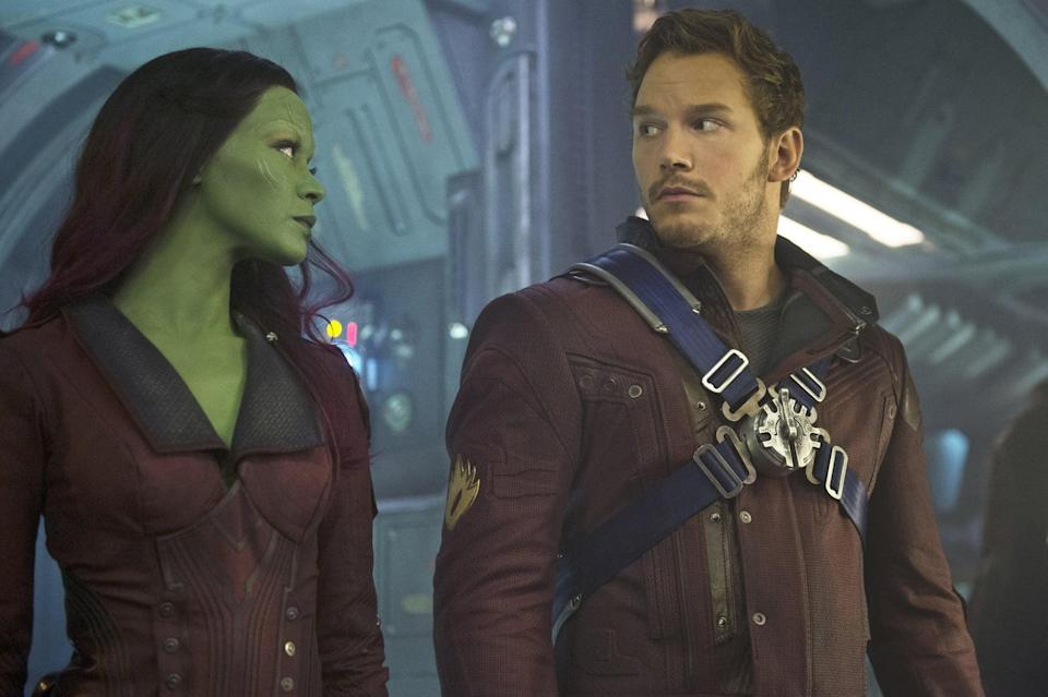 """<p><strong>For Gamora:</strong> The most important thing here is the green full-body paint. Beyond that, any tight-fitting futuristic leather outfit will do, along with a utility belt for your weapons.</p> <p><strong>For Star-Lord:</strong> Wear a leather jacket or vest, some facial scruff, an old-school Walkman with headphones, and a smile. Bonus points if you can fashion or <a href=""""http://www.amazon.com/Marvel-Guardians-Galaxy-Star-Lord-Battle/dp/B00ILDIDUM/ref=sr_1_2?ie=UTF8&amp;qid=1412370232&amp;sr=8-2&amp;keywords=star+lord"""" class=""""link rapid-noclick-resp"""" rel=""""nofollow noopener"""" target=""""_blank"""" data-ylk=""""slk:buy his mask"""">buy his mask</a>.</p>"""