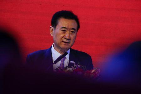 Wang Jianlin, Chairman of the Wanda Group, speaks during a joint media event with China Union Pay in Beijing