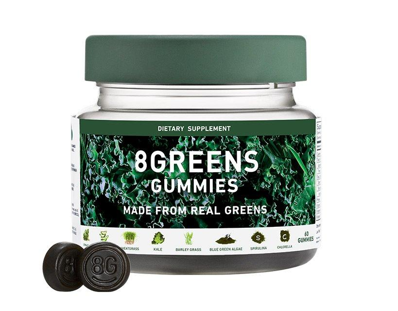 """If you love the 8 Greens tablets, try the brand's new <a href=""""https://8greens.com/products/8greens-gummies"""">gummy option</a> with spinach, kale, spiralina, chlorella, barley grass, blue-green algae, aloe vera and wheatgrass for a dose of vitamins C, B5, B6 and B12."""