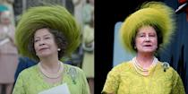<p>The Queen Mother looked bright and cheerful at Prince Charles's investiture ceremony. The series decided to dress actress Marion Bailey in almost the exact same lime green lace suit and fur hat. </p>