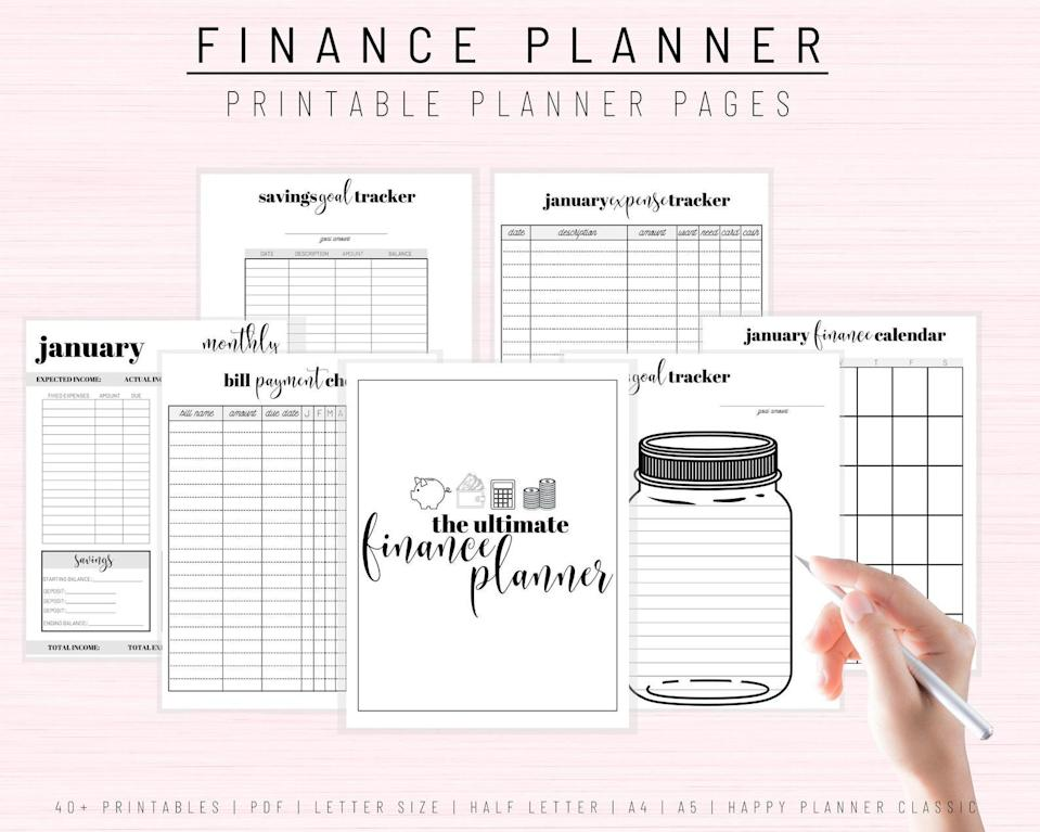 """<h3>Printable Financial Journal</h3><br><br><strong>PrettyPinkPlanners</strong> Printable Financial Journal, Budget Planner, $, available at <a href=""""https://go.skimresources.com/?id=30283X879131&url=https%3A%2F%2Fwww.etsy.com%2Flisting%2F741957307%2Ffinance-planner-printable-financial"""" rel=""""nofollow noopener"""" target=""""_blank"""" data-ylk=""""slk:Etsy"""" class=""""link rapid-noclick-resp"""">Etsy</a>"""
