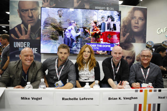 "The Cast and Executive Producers of ""Under the Dome"" during a signing at Comic-Con 2013, held in San Diego, Ca."
