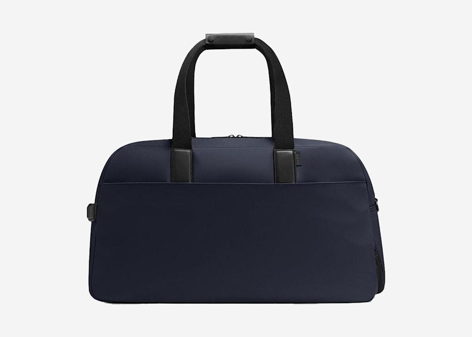 """<p><a href=""""https://www.cntraveler.com/story/why-everyone-wants-an-away-suitcase?mbid=synd_yahoo_rss"""" rel=""""nofollow noopener"""" target=""""_blank"""" data-ylk=""""slk:Away"""" class=""""link rapid-noclick-resp"""">Away</a>'s weekender bag looks sleek and hides a slew of thoughtfully placed features: two exterior zip pockets to stow small items within reach, several interior pockets including a hidden laptop sleeve, a separated wipeable shoe compartment, and a trolley strap to secure it to your suitcase. It comes in two sturdy fabrics—canvas and nylon—though we're partial to the easy-to-wipe-clean nylon.</p> <p><strong>Buy now:</strong> <a href=""""https://fave.co/37ez8oc"""" rel=""""nofollow noopener"""" target=""""_blank"""" data-ylk=""""slk:$225, awaytravel.com"""" class=""""link rapid-noclick-resp"""">$225, awaytravel.com</a></p>"""