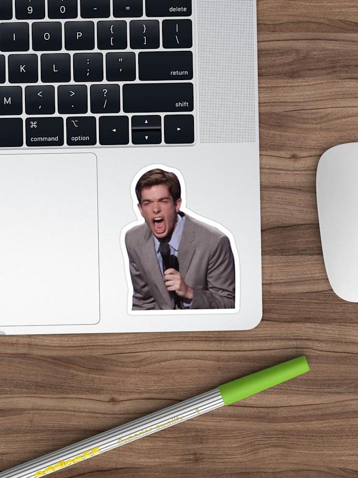 """<p>The best thing to give a laptop or water bottle some personality? A <a href=""""https://www.popsugar.com/buy/John-Yelling-Sticker-509105?p_name=John%20Yelling%20Sticker&retailer=redbubble.com&pid=509105&price=3&evar1=pop%3Auk&evar9=46829575&evar98=https%3A%2F%2Fwww.popsugar.com%2Fcelebrity%2Fphoto-gallery%2F46829575%2Fimage%2F46829587%2FJohn-Yelling-Sticker&list1=gifts%2Chumor%2Cgift%20guide%2Cjohn%20mulaney%2Centertainment%20gifts&prop13=api&pdata=1"""" rel=""""nofollow"""" data-shoppable-link=""""1"""" target=""""_blank"""" class=""""ga-track"""" data-ga-category=""""Related"""" data-ga-label=""""https://www.redbubble.com/people/cmsortino/works/29106850-mulaney?cat_context=all-departments&amp;grid_pos=2&amp;p=sticker&amp;rbs=cda40076-62c7-469f-a953-732c96a90887&amp;ref=shop_grid&amp;searchTerm=john%20mulaney"""" data-ga-action=""""In-Line Links"""">John Yelling Sticker</a> ($3)!</p>"""