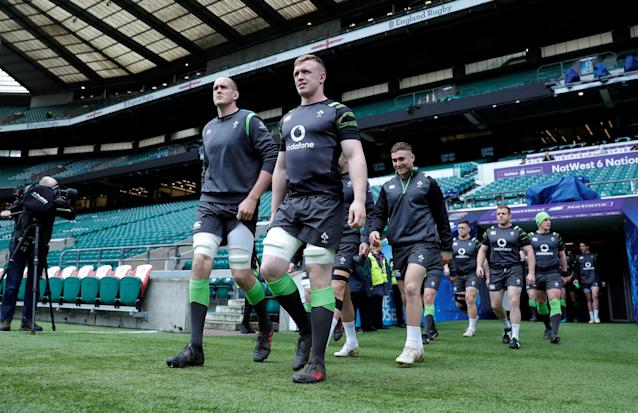 Rugby Union - Ireland Captain's Run - Twickenham Stadium, London, Britain - March 16, 2018 Ireland's Devin Toner and Dan Leavy during the captains run Action Images via Reuters/Andrew Couldridge
