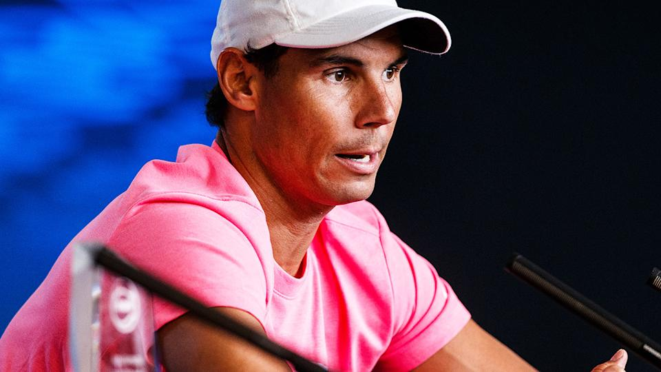 Rafael Nadal, pictured here speaking to the media at the Australian Open.