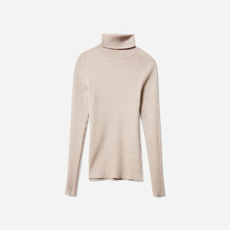"""<p><strong>Everlane</strong></p><p>everlane.com</p><p><a href=""""https://go.redirectingat.com?id=74968X1596630&url=https%3A%2F%2Fwww.everlane.com%2Fproducts%2Fwomens-merino-rib-turtleneck-hthr-sandstone&sref=https%3A%2F%2Fwww.harpersbazaar.com%2Ffashion%2Ftrends%2Fg37038622%2Feverlane-summer-sale-best-items%2F"""" rel=""""nofollow noopener"""" target=""""_blank"""" data-ylk=""""slk:Shop Now"""" class=""""link rapid-noclick-resp"""">Shop Now</a></p><p><strong><del>$90</del> $36</strong></p><p>All the comfort of a go-to wool turtleneck, minus the bulk of a heavy sweater.</p>"""