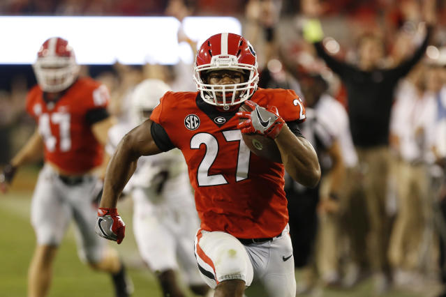 Nick Chubb could finish his SEC career at No. 2 all-time in the conference. (Joshua L. Jones/Athens Banner-Herald via AP, File)