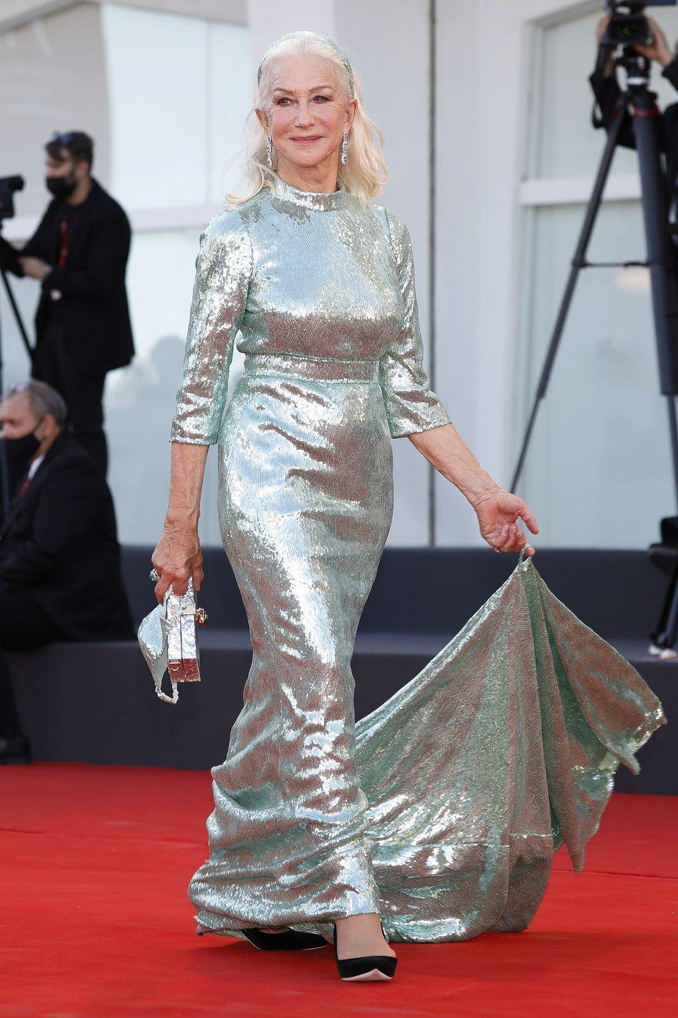 <p>Helen Mirren wore a sweeping pale green sequin dress as the opening of the festival. </p>