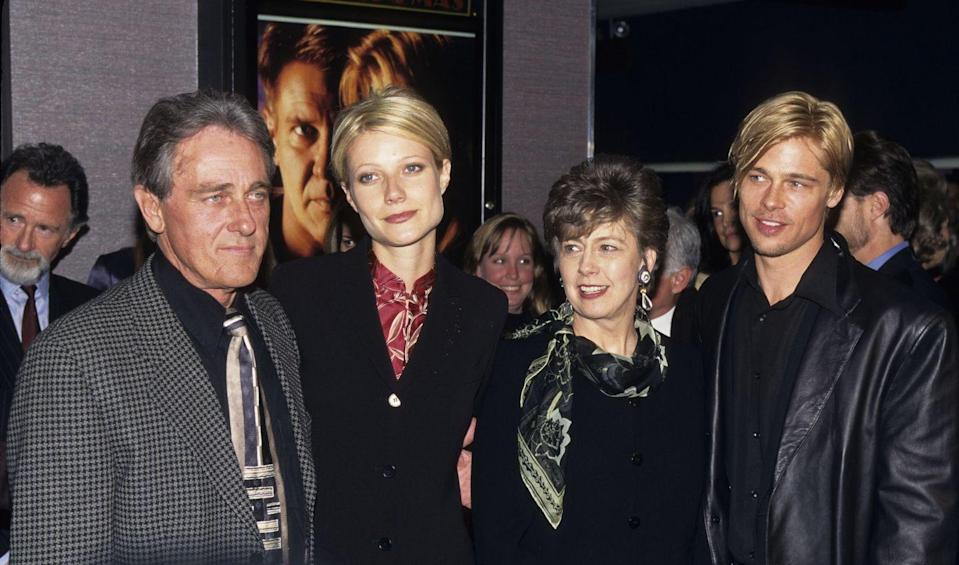 """<p>Pitt with his parents, William and Jane Pitt, and then-fiancée Paltrow at the premiere of <em>The Devil's Own</em>. Pitt and Paltrow famously had the same haircut, which she later joked about. In January 2019, the Oscar winner <a href=""""https://www.instagram.com/p/BsOJtbcFZcn/?utm_source=ig_embed"""" rel=""""nofollow noopener"""" target=""""_blank"""" data-ylk=""""slk:commented"""" class=""""link rapid-noclick-resp"""">commented</a> on a story saying Pitt likes to look like his girlfriends, saying, """"Or we like to look like him, let's face it.""""<br></p>"""