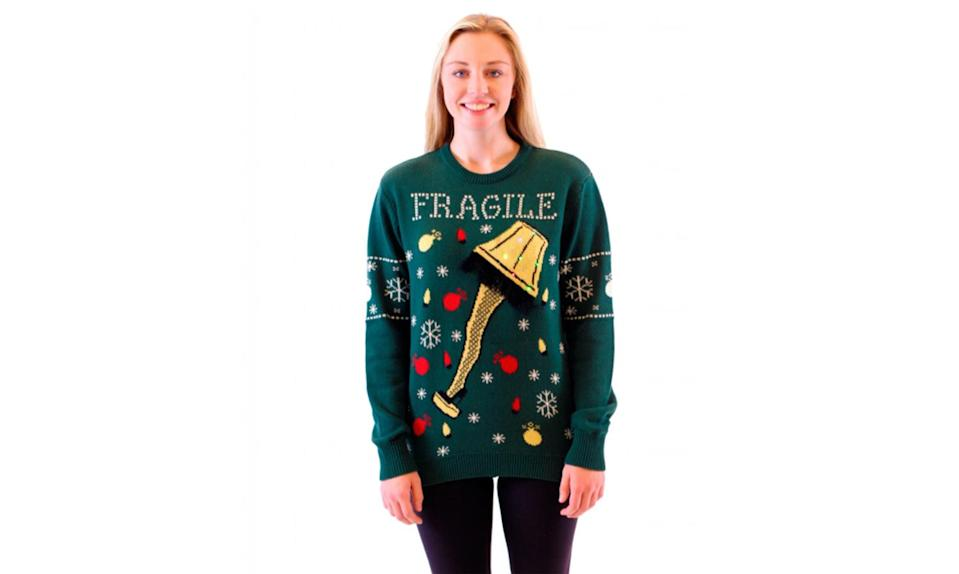"""<p>We love the movie, but there's no way to be fra-gee-lay about this item: It's an ugly leg lamp on an ugly Christmas sweater. <strong><a rel=""""nofollow noopener"""" href=""""http://www.uglychristmassweater.com/product/womens-a-christmas-story-fragile-leg-lamp-light-up-led-lighting/"""" target=""""_blank"""" data-ylk=""""slk:Buy here"""" class=""""link rapid-noclick-resp"""">Buy here</a></strong> </p>"""