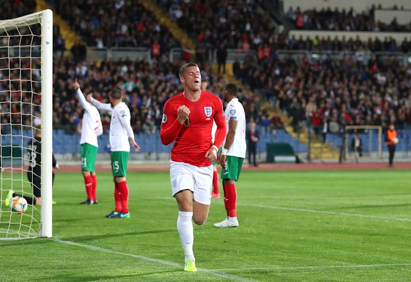 SOFIA, BULGARIA - OCTOBER 14: Ross Barkley of England celebrates after scoring his sides second goal during the UEFA Euro 2020 qualifier between Bulgaria and England on October 14, 2019 in Sofia, Bulgaria. (Photo by Catherine Ivill/Getty Images)