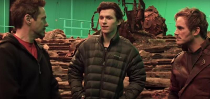 Robert Downey Jr, Tom Holland and Chris Pratt on the set of 'Avengers: Infinity War' (credit: Marvel Studios)