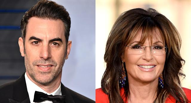 Sacha Baron Cohen and Sarah Palin (Photo: Getty Images)