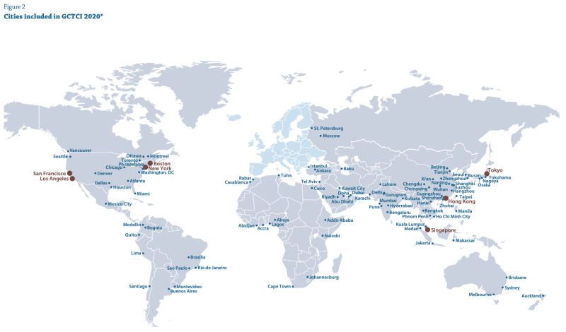 Cities included in GCTCI 2020 (European cities displayed separately). (Source: 2020 GTCI)
