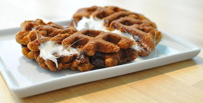 """<p>You'll definitely want more of these s'moreffles.</p><p>Get the recipe from <a rel=""""nofollow noopener"""" href=""""http://www.willitwaffle.com/blog/2010/01/13/recipe-smoreffles"""" target=""""_blank"""" data-ylk=""""slk:Will it Waffle"""" class=""""link rapid-noclick-resp"""">Will it Waffle</a>.</p>"""