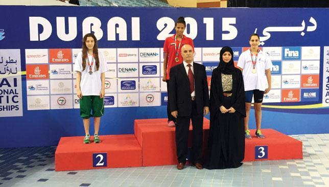 Yasmine Alameddine took bronze on the opening day (r).