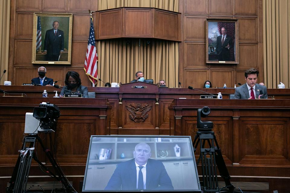 Amazon CEO Jeff Bezos testifies via video conference during the House Judiciary Subcommittee on Antitrust, Commercial and Administrative Law hearing on Online Platforms and Market Power in the Rayburn House office Building, July 29, 2020 in Washington, DC.