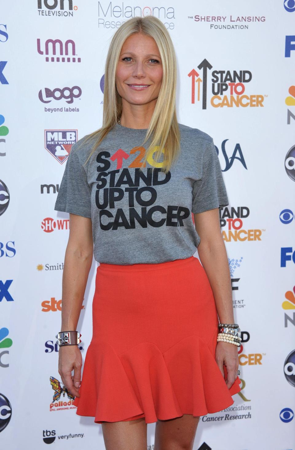 "Actress Gwyneth Paltrow attends ""Stand Up to Cancer"" at the Shrine Auditorium on Friday, Sept. 7, 2012 in Los Angeles. The initiative aimed to raise funds to accelerate innovative cancer research by bringing new therapies to patients quickly. (Photo by John Shearer/Invision/AP)"