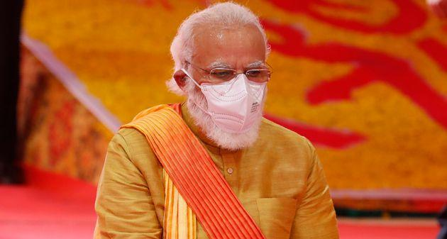 Prime Minister Narendra Modi performs rituals during the groundbreaking ceremony of the Ram temple in Ayodhya on August 5, 2020.