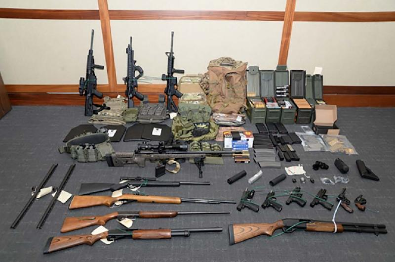 Weapons seized at the Silver Spring, Maryland, home of US Coast Guard officer Christopher Paul Hasson, who espoused white supremacist views