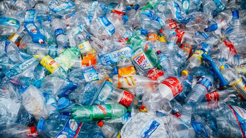 Plastic bottles at recycling plant