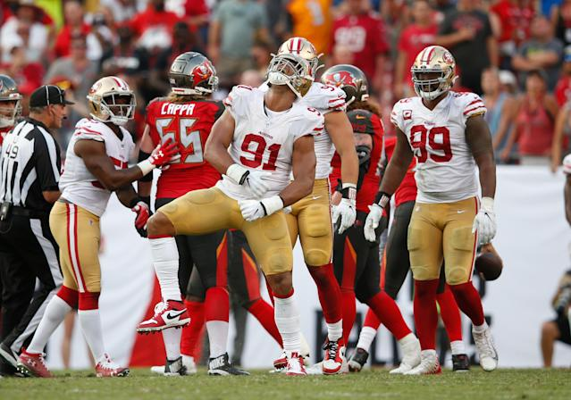 Celebrate: The San Francisco 49ers will wear gold pants and white tops in Super Bowl LIV. (Michael Zagaris/San Francisco 49ers/Getty Images)
