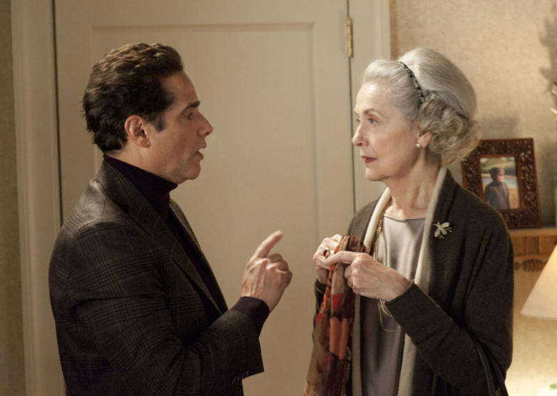 "Jackie (Mary Beth Peil) speaks with her caretaker, Cristian (Yul Vazquez), in ""A Defense of Marriage,"" the ninth episode of ""The Good Wife"" Season 4."