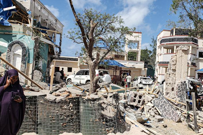 A view taken on July 13, 2019 shows the rubbles of the popular Medina hotel of Kismayo. A suicide bomber rammed a vehicle loaded with explosives into the Medina hotel in the port town of Kismayo before several heavily armed gunmen forced their way inside, shooting as they went, authorities said. (Photo: Stringer/AFP/Getty Images)