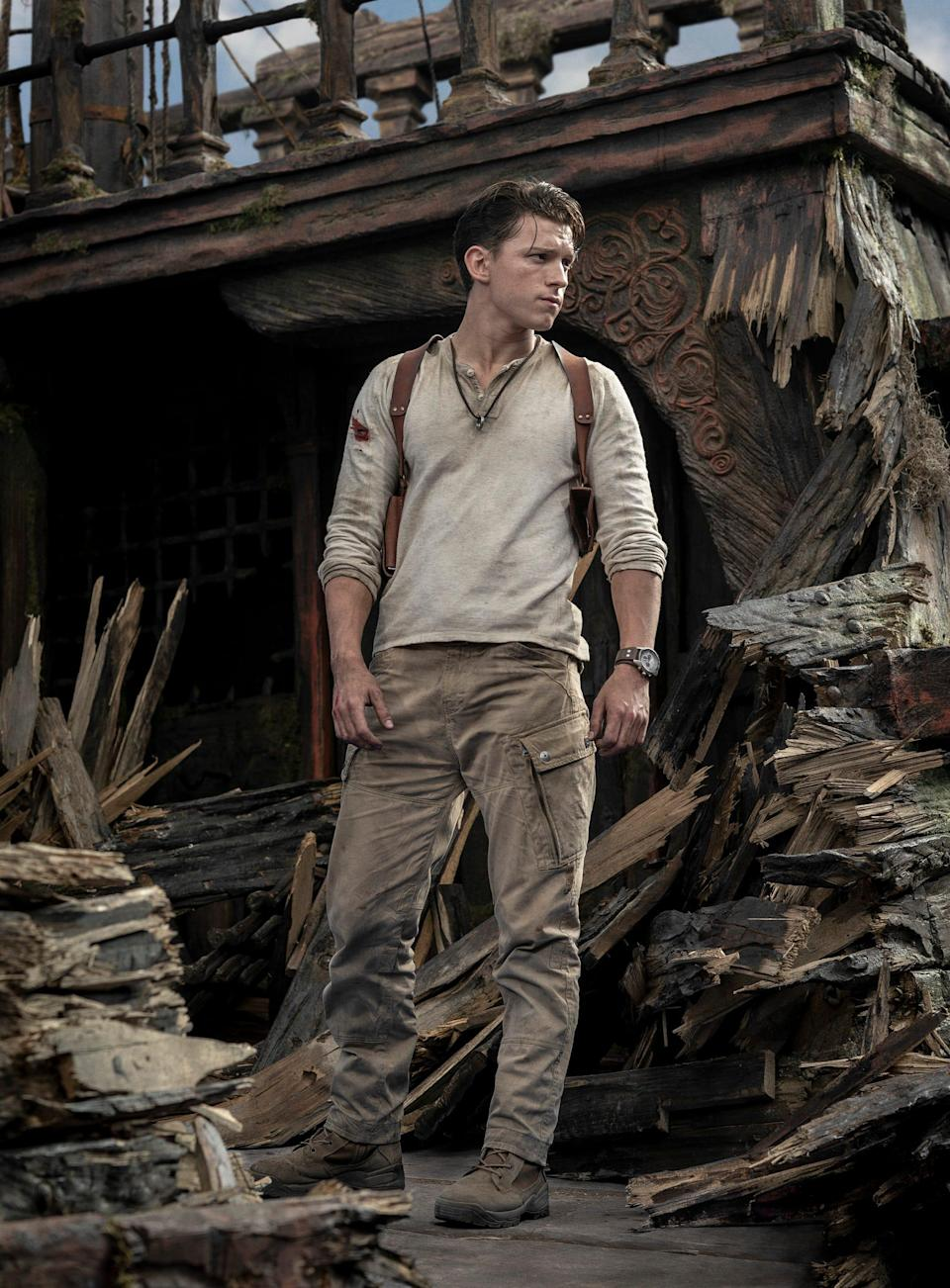 "Tom Holland plays fortune hunter Nathan Drake in ""Uncharted,"" based on the popular video game series."