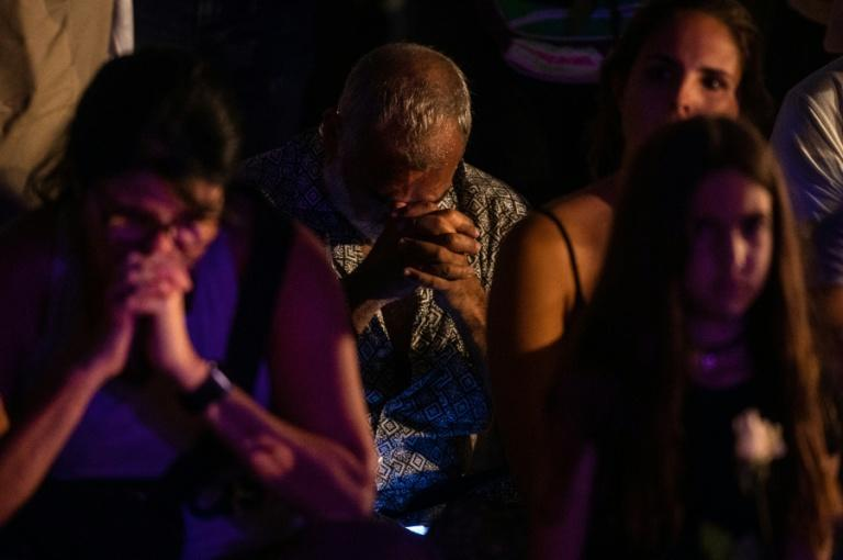 Friends and neighbors of people who lived in the collapsed apartment block attended a vigil on the beach in Surfside, Florida on June 28, 2021