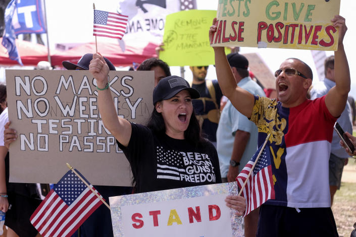 Anti-vaccination protesters take part in a rally against Covid-19 vaccine mandates, in Santa Monica, California, on August 29, 2021. (Ringo Chiu/AFP via Getty Images)