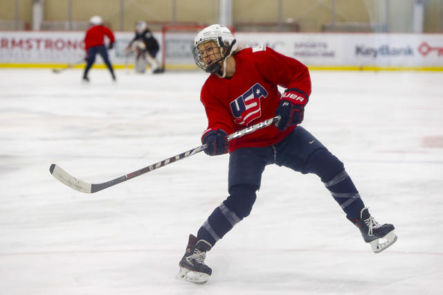 In this photo taken Monday, Nov. 4, 2019, Amanda Kessel, a member of the U.S. Women's National hockey team, goes through drills during their practice in Cranberry Township, Butler County, Pa. Many of the top women's hockey players on the planet say they're resolute in their decision to not play professionally in North America until a new league that provides better pay and better benefits materializes. (AP Photo/Keith Srakocic)