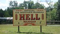 """<p>While there isn't a clear idea <a href=""""http://www.gotohellmi.com/"""" rel=""""nofollow noopener"""" target=""""_blank"""" data-ylk=""""slk:why this town was named Hell"""" class=""""link rapid-noclick-resp"""">why this town was named Hell</a>, the town has embraced it with a """"Go to Hell"""" slogan and other pun infused advertisements.</p><p><a href=""""https://commons.wikimedia.org/wiki/File:NWS_Hell_MI.jpg#/media/File:NWS_Hell_MI.jpg"""" rel=""""nofollow noopener"""" target=""""_blank"""" data-ylk=""""slk:Photo by Sswonk via Wikimedia"""" class=""""link rapid-noclick-resp""""><em>Photo by Sswonk via Wikimedia</em></a></p>"""