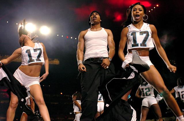 2004: Nelly was among the slate of performers at this year's Super Bowl halftime show. (Photo by KMazur/WireImage)