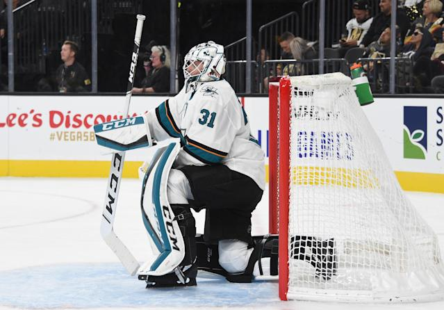 Martin Jones — along with mostly the entire Sharks roster — has struggled early this season. (Getty)