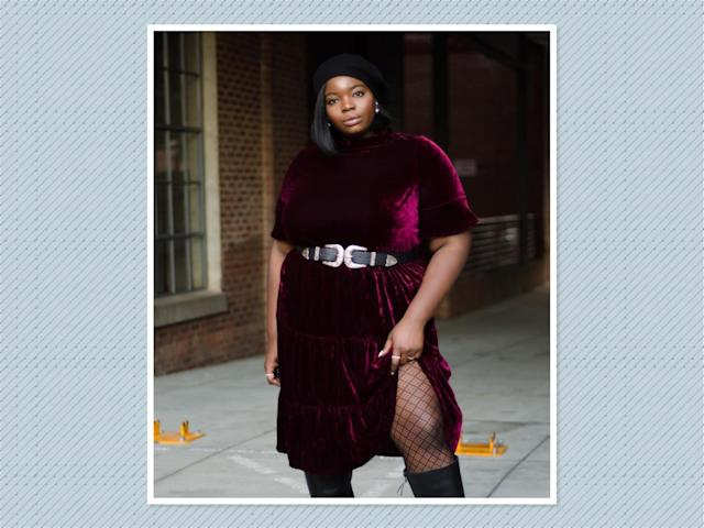 "<p>A velour dress is a classic fall essential. <a href=""https://www.instagram.com/p/BZy3wEqFuwe/?hl=en&taken-by=onacurve"" rel=""nofollow noopener"" target=""_blank"" data-ylk=""slk:Valerie Eguavoen"" class=""link rapid-noclick-resp"">Valerie Eguavoen</a> styles it perfectly by belting it at the waist and pairing with fishnet tights to add texture. (Photo: Valerie Eguavoen) </p>"