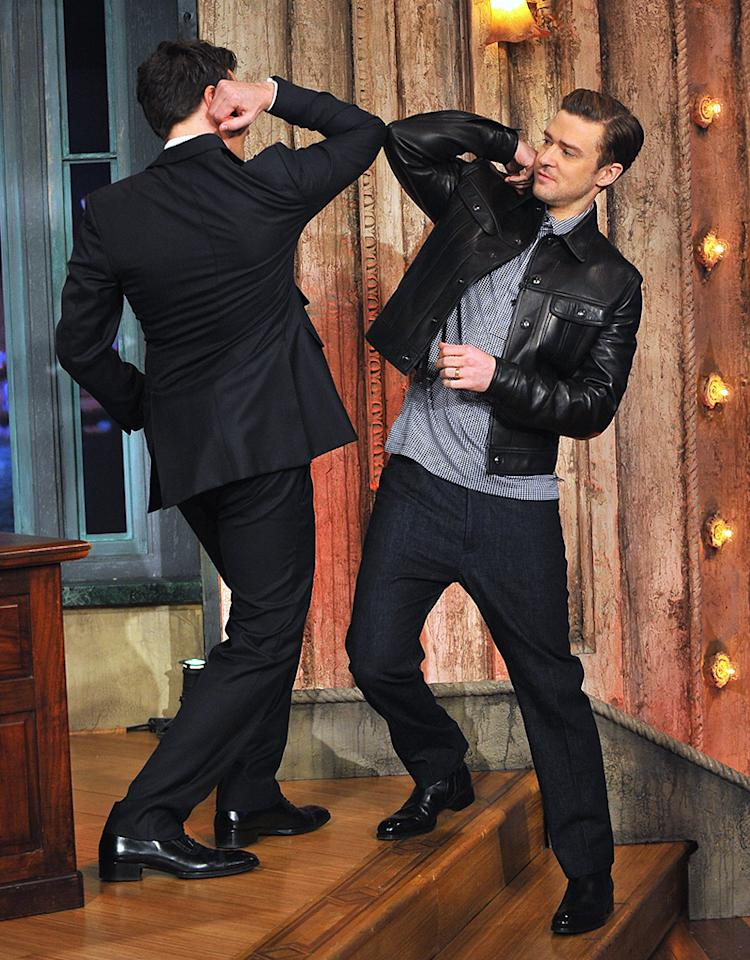 "NEW YORK, NY - MARCH 11:  Justin Timberlake and Jimmy Fallon during a taping of ""Late Night With Jimmy Fallon"" at Rockefeller Center on March 11, 2013 in New York City.  (Photo by Theo Wargo/Getty Images)"