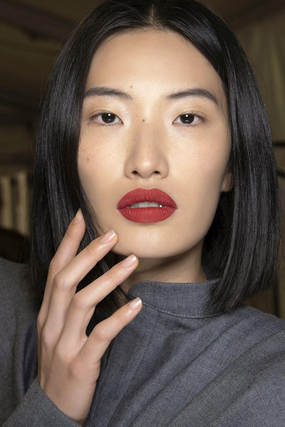 <p>Manicure maintenance takes a welcome break, as inspired by David Koma, where glamorous paint jobs were swapped in for bare-looking, healthy nails. </p>