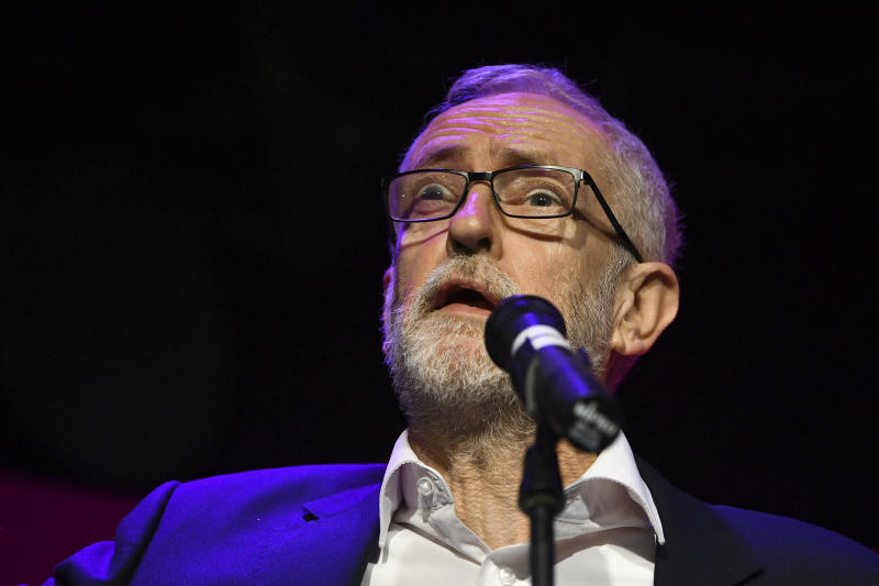 Britain's Labour leader Jeremy Corbyn speaks during the launch of Labour candidate Pamela Fitzpatrick's general election campaign, at the Flash Music Theatre, in Edgware, England, Wednesday, Oct. 30,2019. (Victoria Jones/PA via AP)