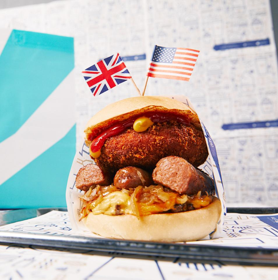 <p>In honour of the Royal Wedding, our friends at Deliveroo have created the ultimate cheat meal; 'The Bangers and Mash Burger'. The traditional English dish goes perfectly on a classic American burger bun. Better be quick as the burger is available on the Saturday 19th May. Photo: Supplied </p>