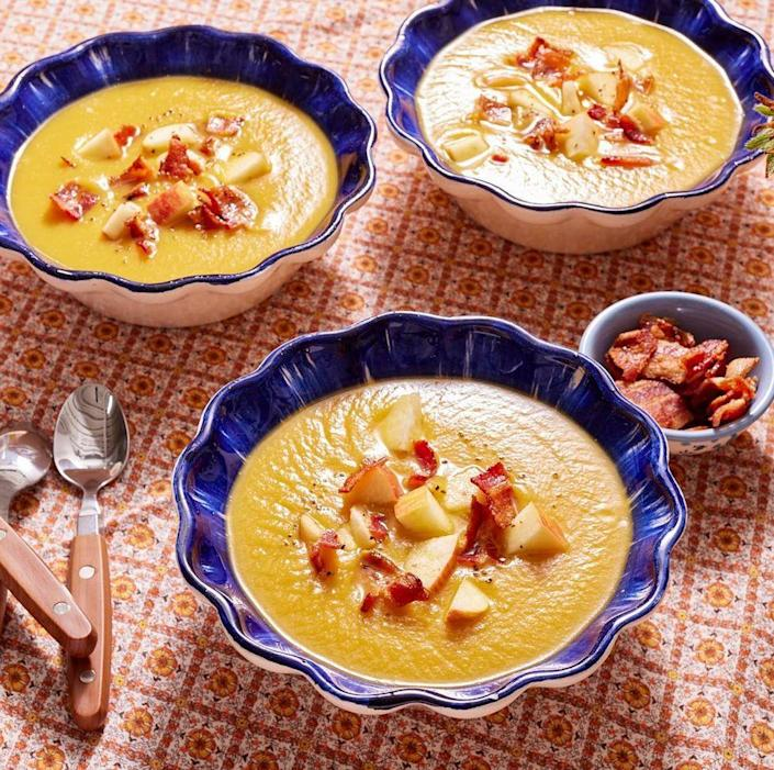 """<p>Make the most of the fall harvest with this creamy, seasonal soup that uses both butternut squash and apples. It's a sweet and savory dinner the whole family will love. </p><p><a href=""""https://www.thepioneerwoman.com/food-cooking/recipes/a103161/simple-roasted-butternut-squash-soup/"""" rel=""""nofollow noopener"""" target=""""_blank"""" data-ylk=""""slk:Get the recipe."""" class=""""link rapid-noclick-resp""""><strong>Get the recipe.</strong></a></p>"""