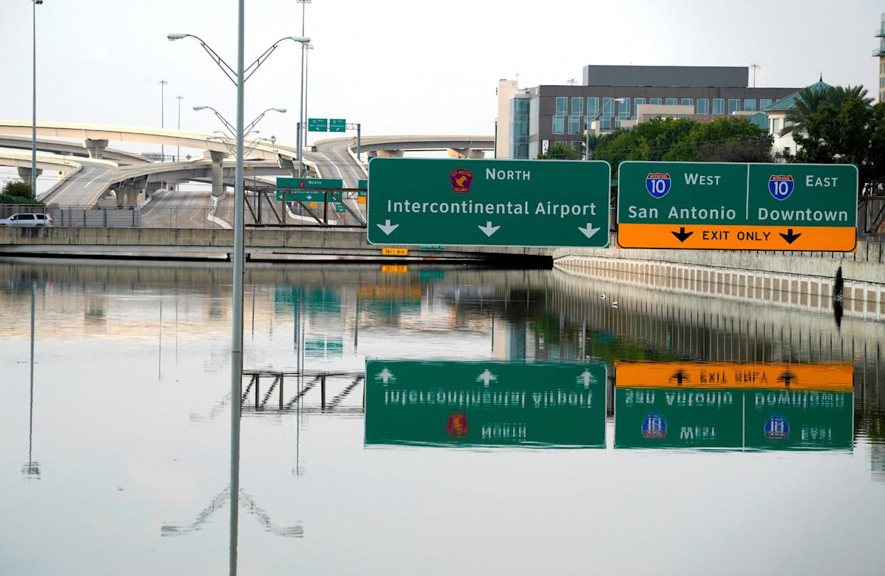 The Sam Houston Parkway was still completely covered with Harvey floodwaters as ofSept. 1.